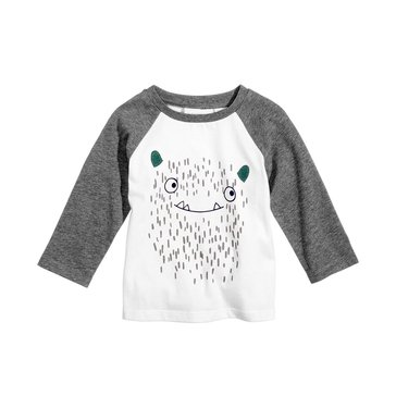 First Impressions Baby Boys' Monster Raglan Tee, Angel White