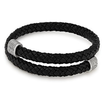 Alex and Ani Nightfall Leather Wrap, Silver Finish