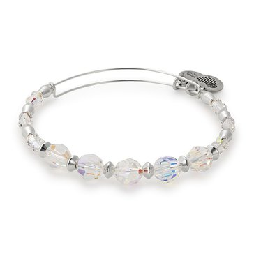 Alex And Ani Swarovski Crystal Beaded, Frost Bangle, Silver Tone
