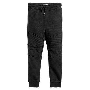 Epic Threads Boys' Moto Knit Jogger, Deep Black