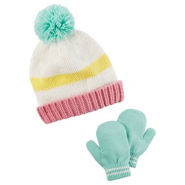 Carter's Baby Girls' Colorblock Stripe Hat and Mitten Set