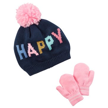 Carter's Baby Girls' Happy Hat and Mitten Set