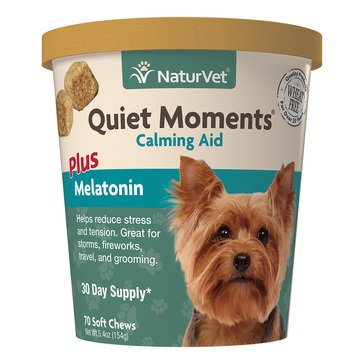 NaturVet Quiet Moments Calming Aid Dog Soft Chews, 70-Count