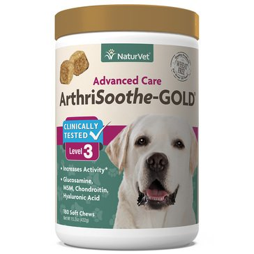 NaturVet Clinically Tested ArthriSoothe-Gold Soft Chews, 180-Count