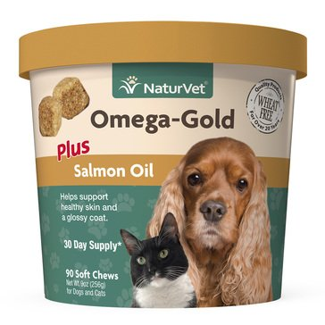 NaturVet Omega Gold Plus Salmon Oil 90-Count Soft Chews for Dogs & Cats