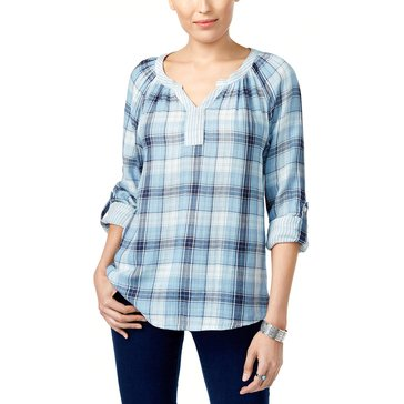 Style & Co Plaid Split Neck Pullover in Boulder Fog