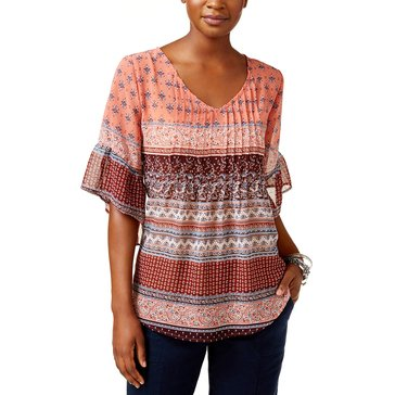 Style & Co Mixed Print V-Neck Tuck Front Blouse in Saloon Stripe