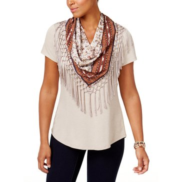 Style & Co Short Sleeve Scarf Top in Summer Straw