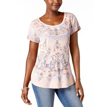 Style & Co Scoopneck Short Sleeve Shirttail in MK Rose Queen