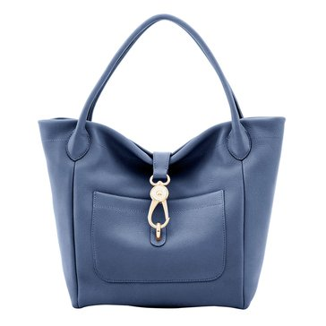 Dooney & Bourke Belvedere Logo Lock Tote Dusty Blue
