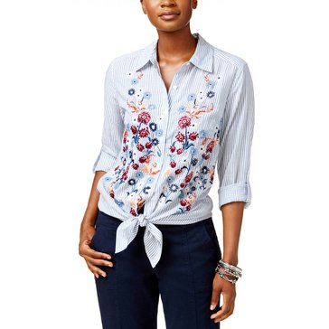 Style & Co Stripe Violet Button Front Shirt Multi Front Embroidery in Flourish Stripe