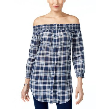 Style & Co 3/4 Sleeve Plaid Off The Shoulder Top in Indiana Blue