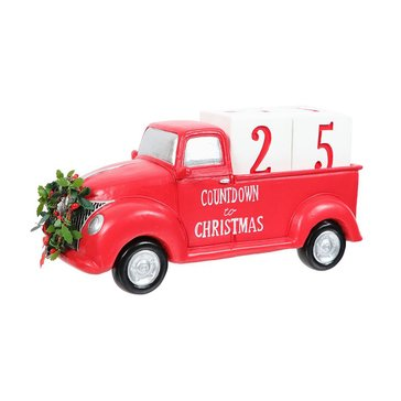 Dennis East Countdown To Christmas Red Polyresin Truck