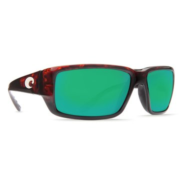 Costa Unisex Fantail Polarized Sunglasses, Tortoise/ Green Mirror 580P 59mm