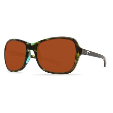 Costa Women's Kare Polarized Sunglasses, Shiny Kiwi Tortoise/ Copper 580P 53.7mm