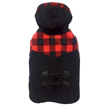 Ethical Pet Toggle Plaid Trim Coat, Black, Small