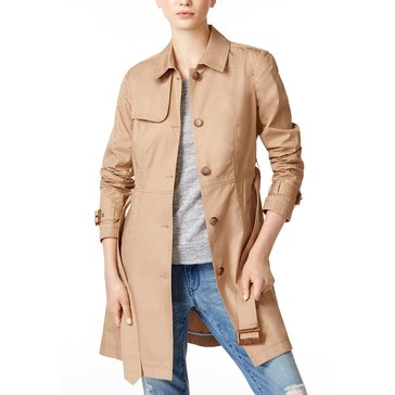 Maison Jules Long Classic Trench Coat in Market Camel