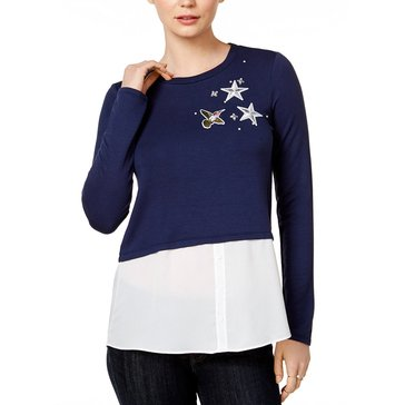 Maison Jules Sweater with Bird Patch Twofer Snit in Blu Notte