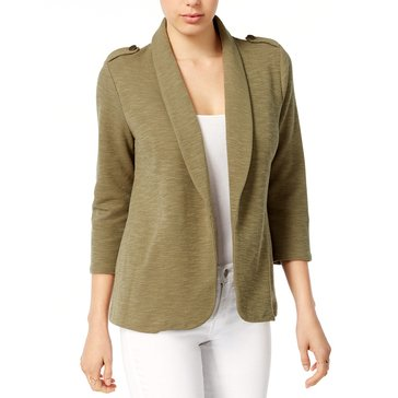 Maison Jules Military Knit Jacket in Burnt Olive