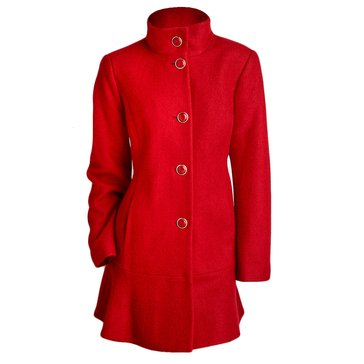 Kensie Women's Stand Collar Boiled Wool Coat with Skirted Bottom
