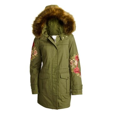 Kensie Women's Cotton Twill Anorak With Embroidery