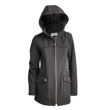 Kensie Women's Embossed Soft Shell Active Jacket With Nylon Inserts, Novelty Zipper Hood