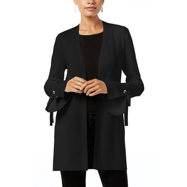 INC International Concepts Split Bell Sleeve Sweater with Tie Cozy in Deep Black