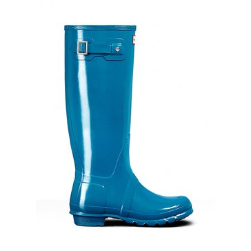 Hunter Boot Women's Original Tall Gloss Rainboot Ocean Blue