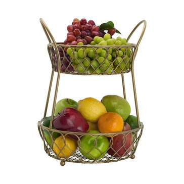 Gourmet Basics by Mikasa Loop And Lattice 2-Tier Round Basket, Matte Gold