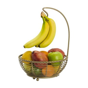 Gourmet Basics by Mikasa Rope Fruit Basket W/Banana Hanger, Matte Gold