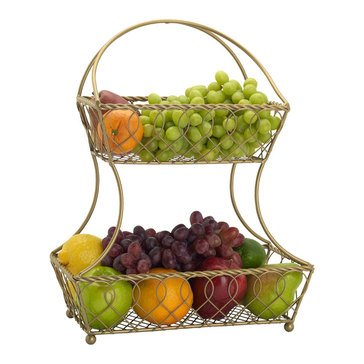 Gourmet Basics by Mikasa Loop And Lattice 2 Tier Flatback Basket, Matte Gold