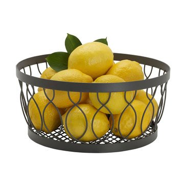 Gourmet Basics by Mikasa Rustic Farmstand Centerpiece Basket, Vintage Gray
