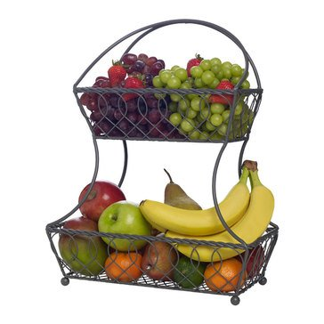 Gourmet Basics by Mikasa Loop And Lattice 2 Tier Flatback Basket, Vintage Gray