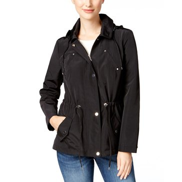Charter Club Women's Long Sleeve Solid Anorak in Deep Black