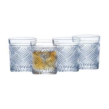 Mikasa Ballard Braid Set of 4 Double Old Fashioned Glasses