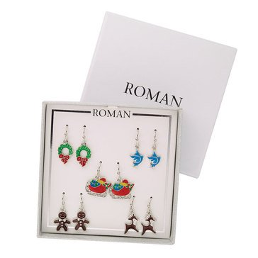 Roman Holiday Christmas Earrings, Set of 5, Silver Tone