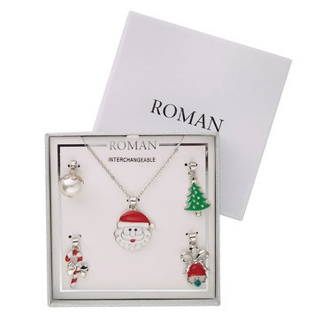 Roman Holiday Christmas Pendants, Set of 5, Silver Tone