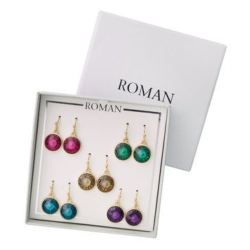 Roman Holiday Stone Drop Earrings, Set of 5, Gold Tone