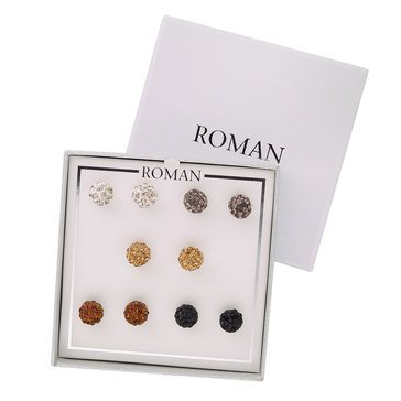 Roman Holiday Pave Drop Earrings, Set of 5, Silver Tone