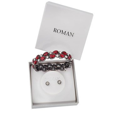 Roman Holiday Bracelet & Stud Earring Boxed Set, Red