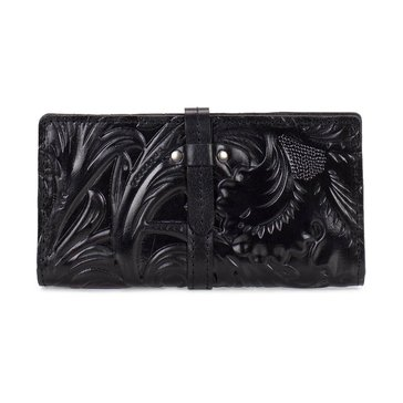 Patricia Nash Tooled Nevola Checkbook Case Black