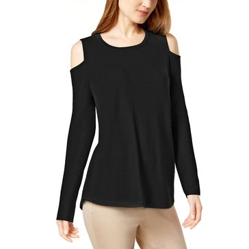 Charter Club Cold Shoulder Shirttail Hem in Classic Black