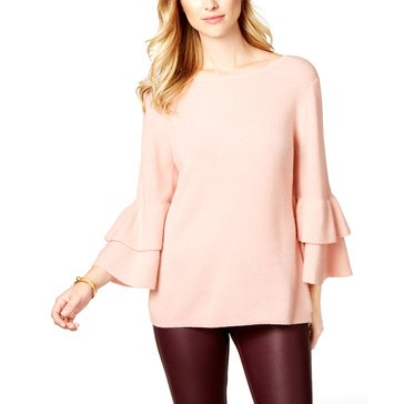 Charter Club Tiered Lantern Sleeve Pullover in Polished Nude