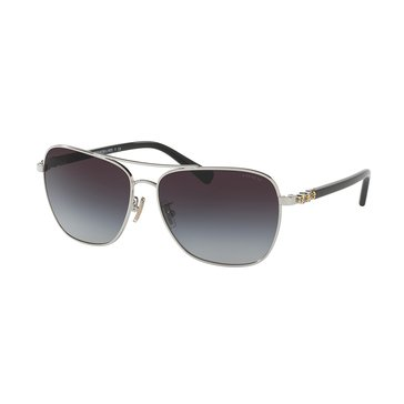 Coach Women's Silver Black Grey Gradient 59mm Sunglasses