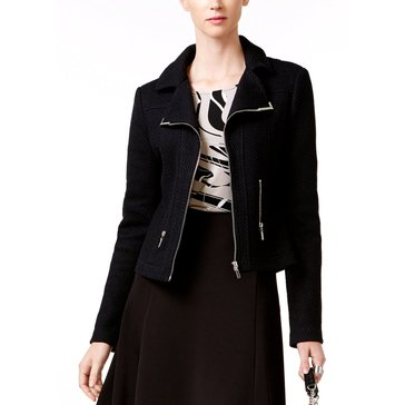 Alfani Textured Moto Jacket in Deep Black