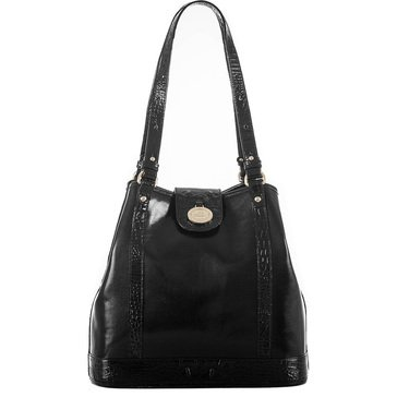 Web Exclusive! Brahmin Flower Shoulder Bag Black Berkshire