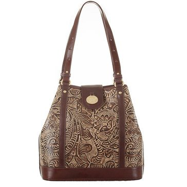 Web Exclusive! Brahmin Flower Shoulder Bag Tan Trellis