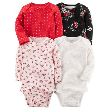 Carter's Baby Girls' 4-Pack Long Sleeve Bodysuits