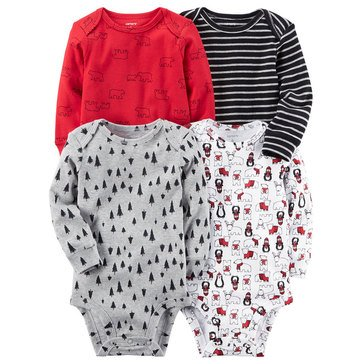 Carter's Baby Boys' 4-Pack Long Sleeve Bodysuits