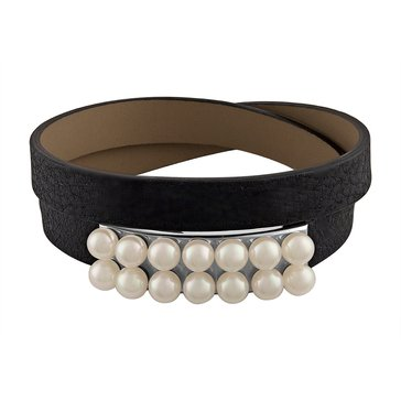 Majorica Isla Black Leather Wrap Bracelet